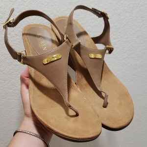 Ralph Lauren tan wedge sandals size 10